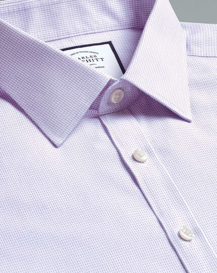 Super slim fit non-iron dash weave lilac shirt