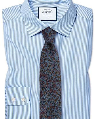 Slim fit fit non-iron sky blue Bengal stripe shirt