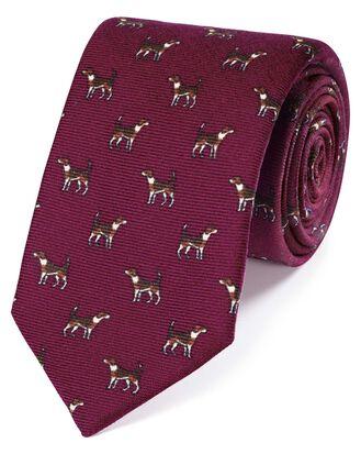 Cravate de luxe rose en laine anglaise à imprimé chiens d'arrêt