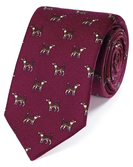 Pink wool pointer dog print English luxury tie