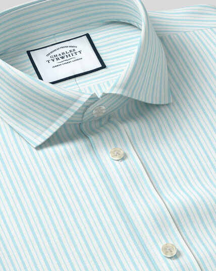 Spread Collar Stretch With TENCEL™ Stripe Shirt- Aqua