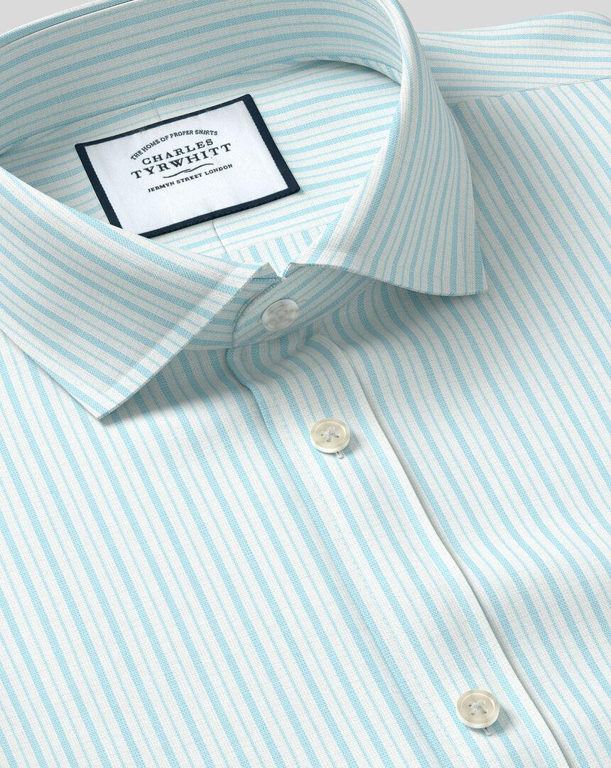 Spread Collar Stretch With TENCEL™ Stripe Shirt- Aqua