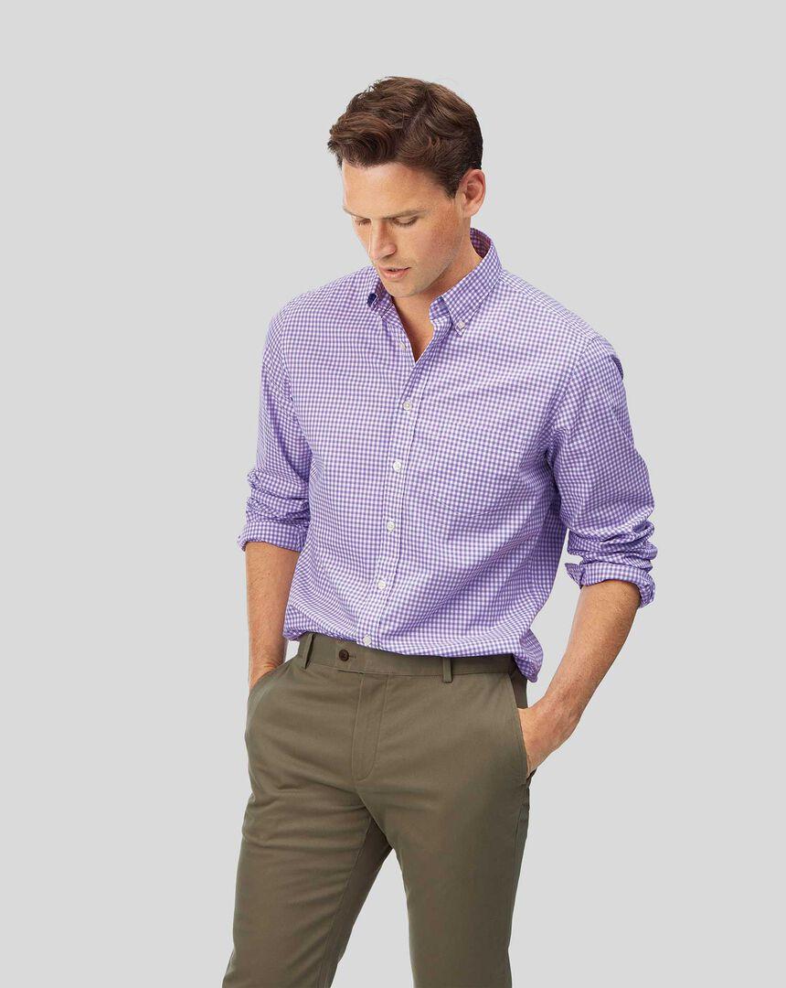 Button-Down Collar Soft Washed Stretch Poplin Check Shirt - Lilac
