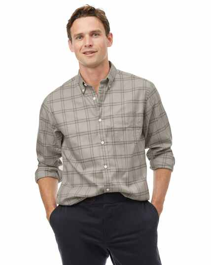 Classic fit light grey check soft washed non-iron twill shirt