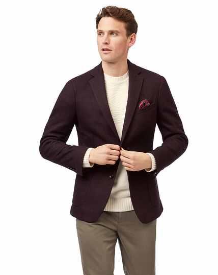 Slim fit aubergine stretch herringbone modern unlined jacket