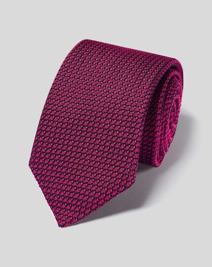 Silk Grenadine Italian Luxury Tie - Dark Pink