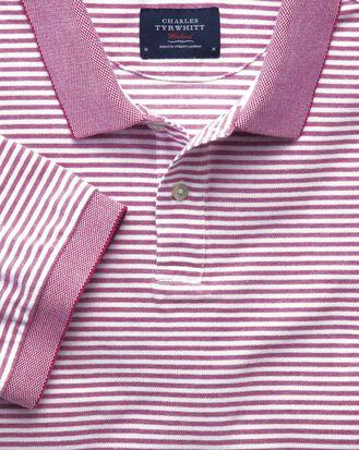 Berry and white stripe Oxford polo