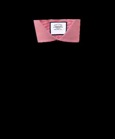 Slim fit spread collar non-iron puppytooth bright pink shirt