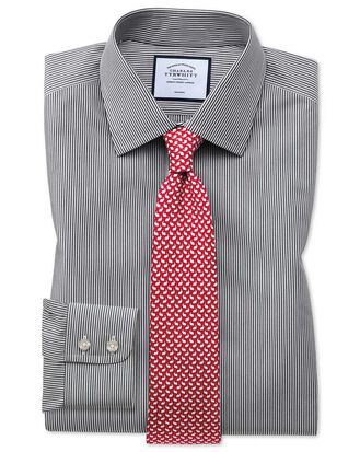 Slim fit non-iron black Bengal stripe shirt