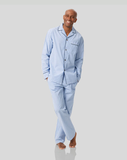 Stripe Pajama Set - Sky & Navy