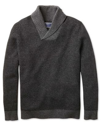 Charcoal shawl collar jacquard sweater