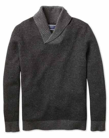 Charcoal shawl collar jacquard jumper