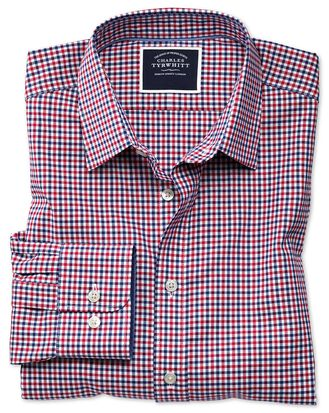 Slim fit non-iron red and navy gingham Oxford shirt