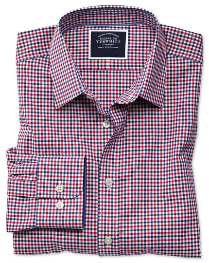 Bügelfreies Slim Fit Oxfordhemd mit Gingham-Karos in Rot und Marineblau