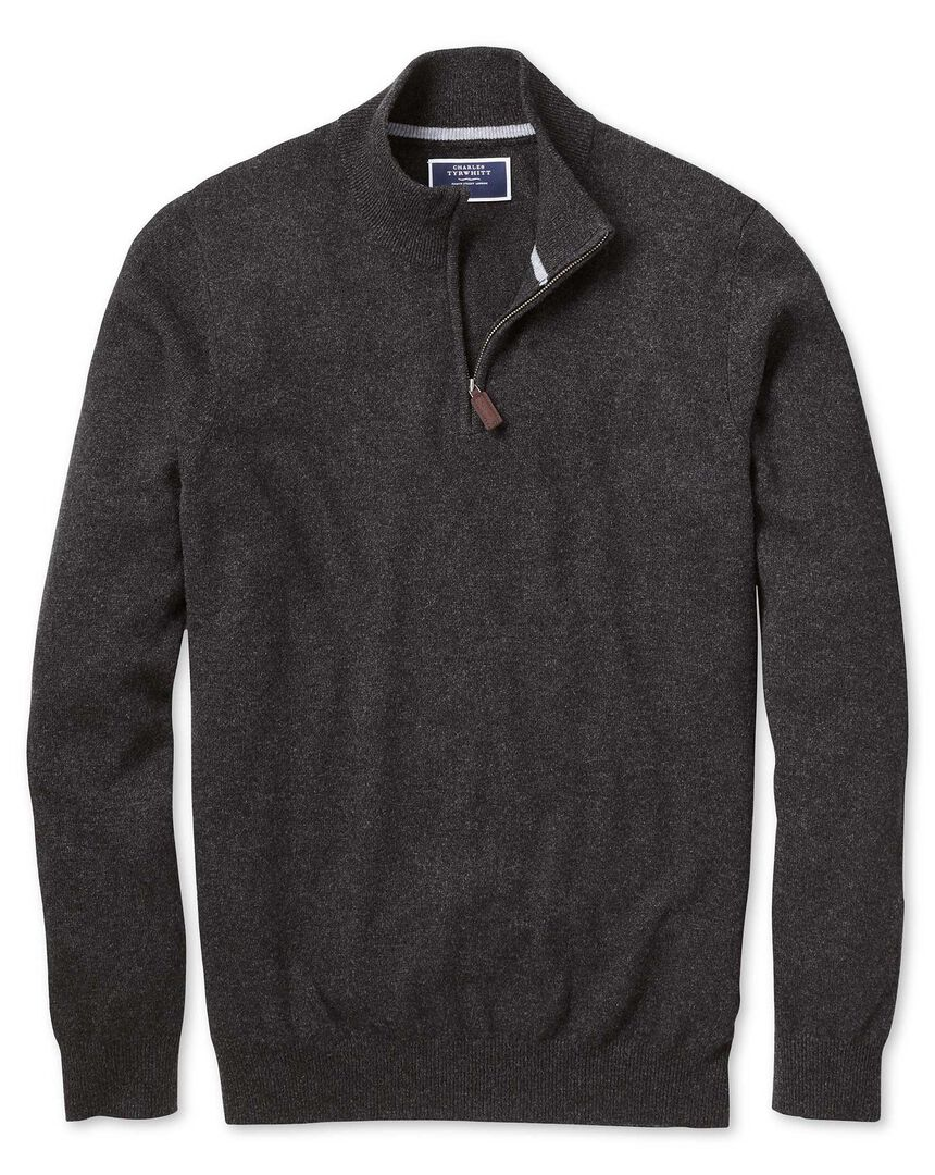 Charcoal zip neck pure cashmere jumper
