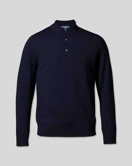 Merino Polo Sweater - Navy