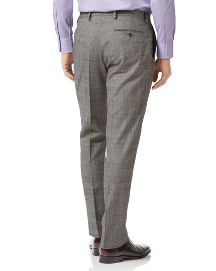 Grey slim fit Prince of Wales check flannel business suit pants