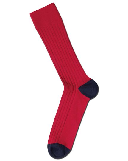 Red cotton rib socks