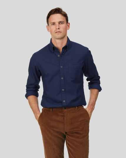 Chemise twill doux délavé à col boutonné sans repassage - Bleu foncé