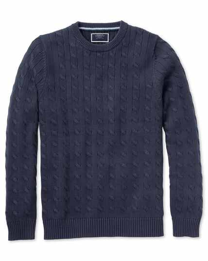 Navy Pima cotton cable crew neck jumper