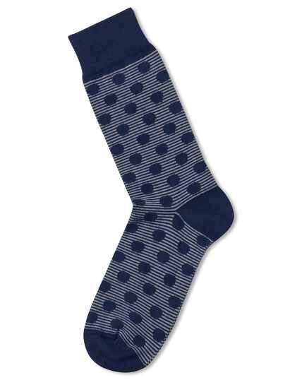 Navy and grey stripe spot socks