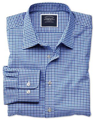 Chemise bleu ciel et bleue en oxford à carreaux vichy extra slim fit sans repassage