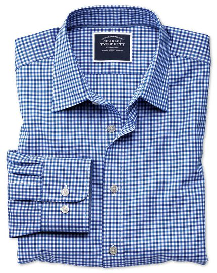 Extra slim fit non-iron sky and blue gingham Oxford shirt
