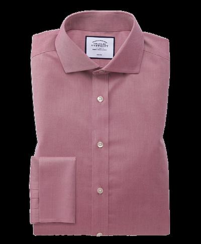 Slim fit non-iron cutaway collar red twill shirt