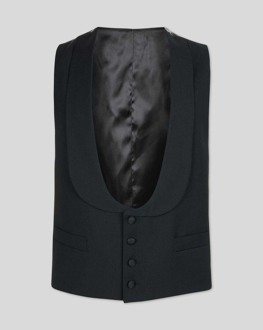 Shawl Collar Tuxedo Vest - Black