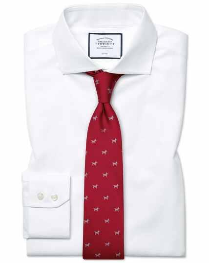 Slim fit white non-iron poplin cutaway shirt
