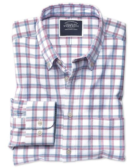 Slim fit red and navy check washed Oxford shirt