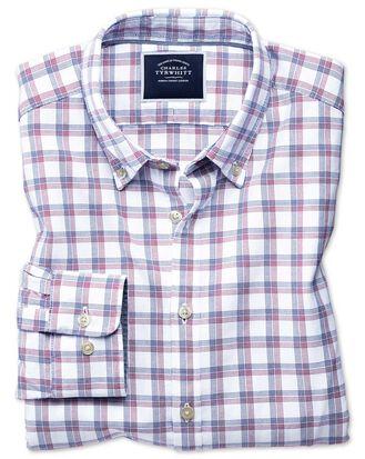 Chemise extra slim fit rouge et bleu marine à carreaux en oxford délavé