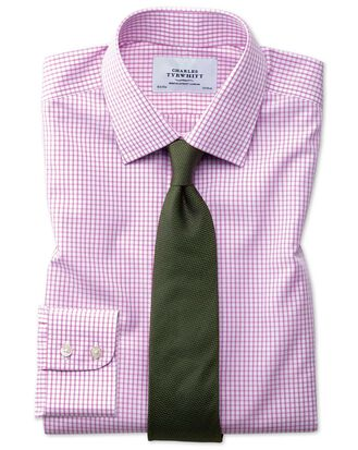 Classic fit non-iron grid check pink shirt