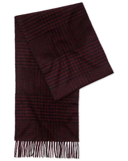Wine check cashmere scarf