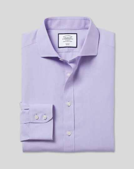 Bügelfreies Tyrwhitt Cool Popeline-Hemd mit Haifischkragen - Lila