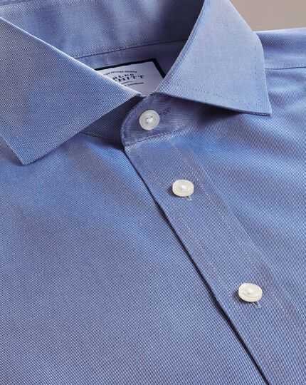 Slim fit mid-blue non-iron twill spread collar shirt