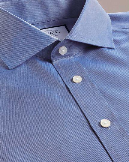 Extra slim fit mid-blue non-iron twill spread collar shirt