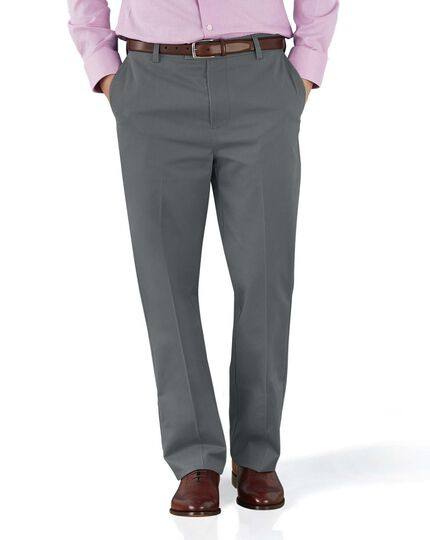 Grey classic fit flat front non-iron chinos