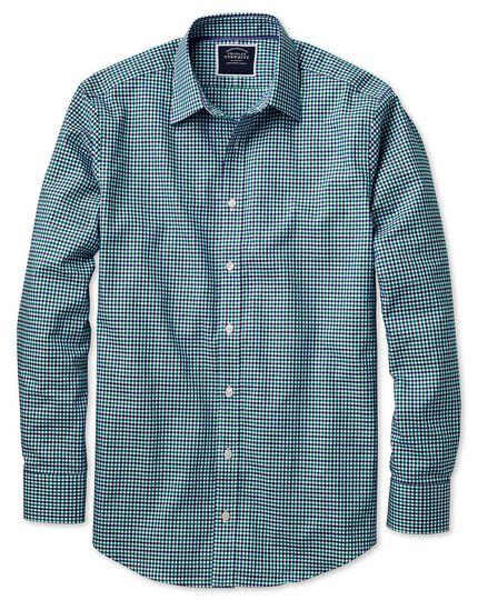 Bügelfreies Classic Fit Oxfordhemd mit Gingham-Karos in Grün und Blau