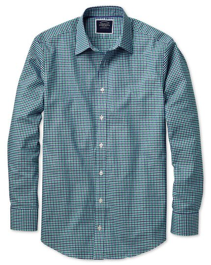Bügelfreies Slim Fit Oxfordhemd mit Gingham-Karos in Grün und Blau