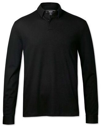 Plain black long sleeve jersey polo