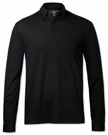Langärmeliges Polohemd Jersey Einfarbig in Schwarz