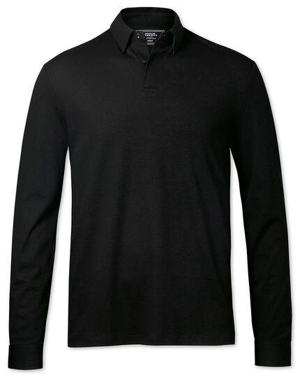 Plain black long sleeve jersey polo