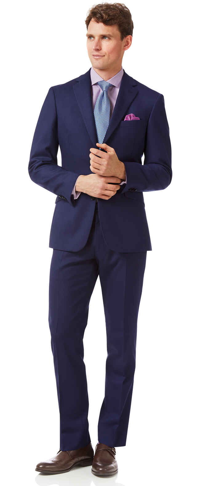 Royal blue slim fit merino business suit