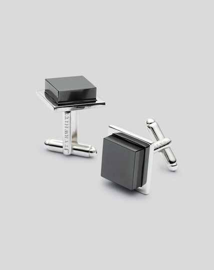 Hematite Square Cufflinks - Grey