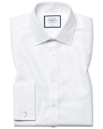Classic fit non-iron Buckingham weave white shirt
