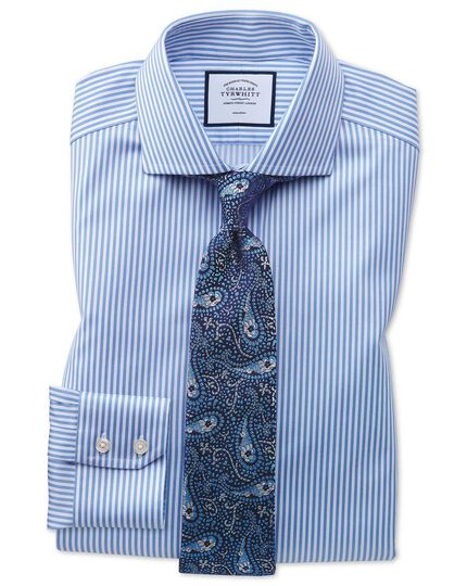 Slim fit non-iron cutaway collar sky blue twill stripe shirt