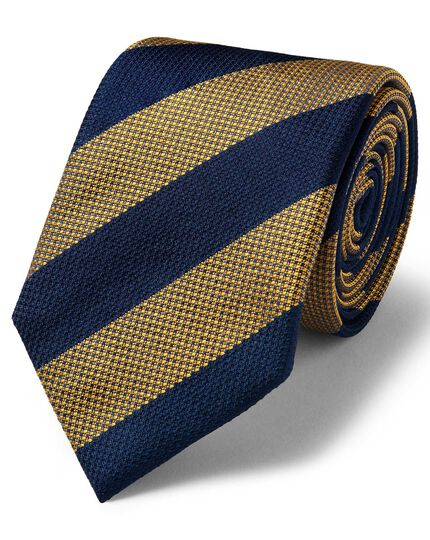 Gold and blue silk textured stripe classic tie