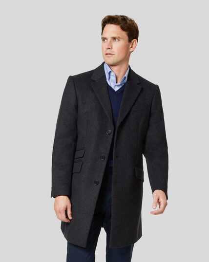 Italian Wool Cashmere Epsom Coat - Charcoal