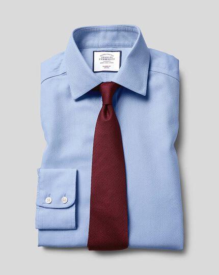 Classic Collar Non-Iron Buckingham Weave Shirt - Blue